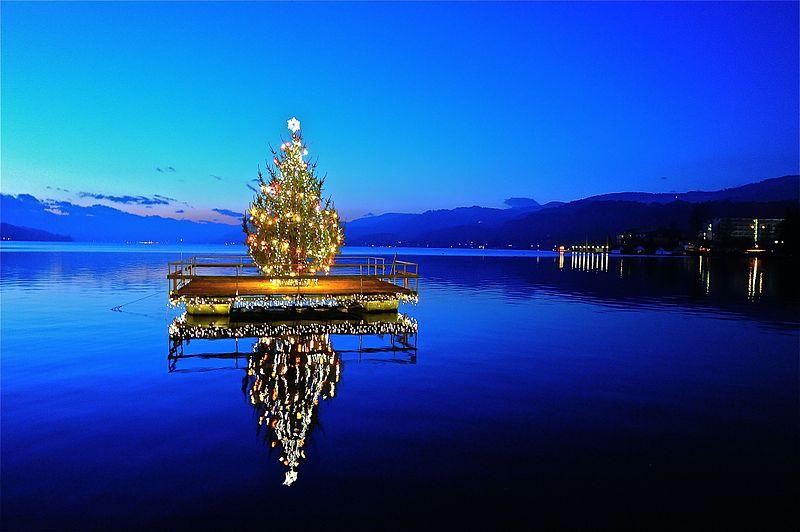 Ein schöneres Weihnachtsbaumbild haben wir nicht finden können: Illuminierter Weihnachtsbaum am Wörther See in Österreich. Foto: Johann Jaritz / Wikipedia Commons (CC BY-SA 3.0 AT)