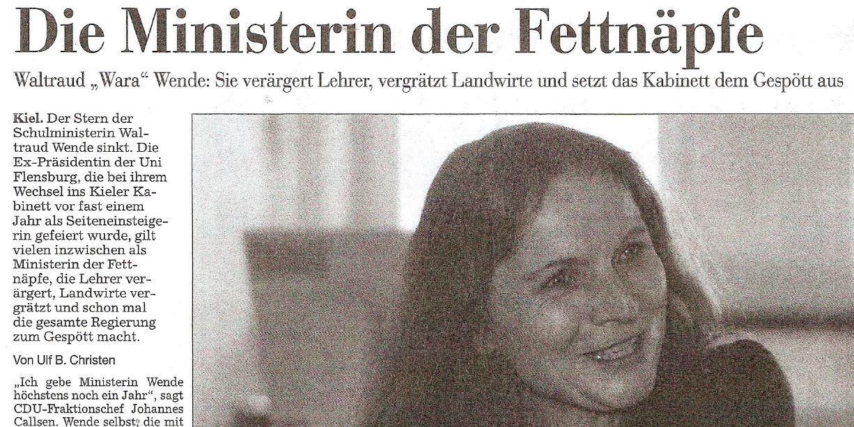 """""""Die Ministerin der Fettnäpfe"""", so titelten die """"Kieler Nachrichten"""" schon vor einem Jahr. Screenshot"""