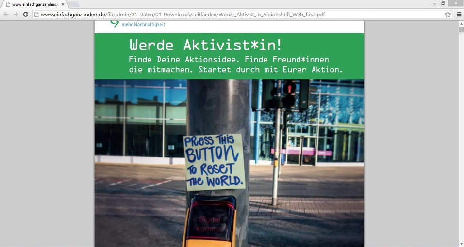 "Interessierte Schüler können das Aktionsheft ""Werde Aktivist*in!"" kostenslos aus dem Internet als PDF-Dokument herunterladen. Screenshot von http://www.einfachganzanders.de/fileadmin/01-Daten/01-Downloads/Leitfaeden/Werde_Aktivist_in_Aktionsheft_Web_final.pdf"