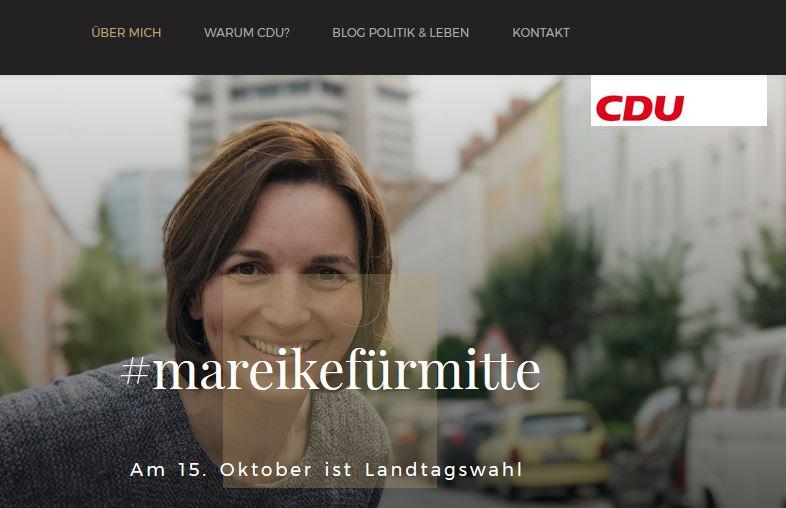 Mit dieser Website präsentiert sich die Kandidatin im Netz. Screenshot