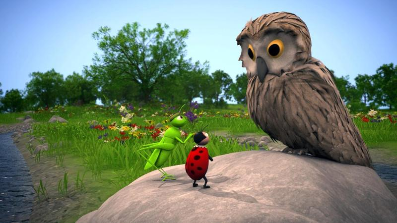 Im Spiel werden Grashüpfer Ricky und Marienkäfer Lisa von einer Spinne gezwungen, Dinge zu tun, die sie eigentlich nicht wollen. Dr. Eule soll helfen. Screenshot: Universität Zürich
