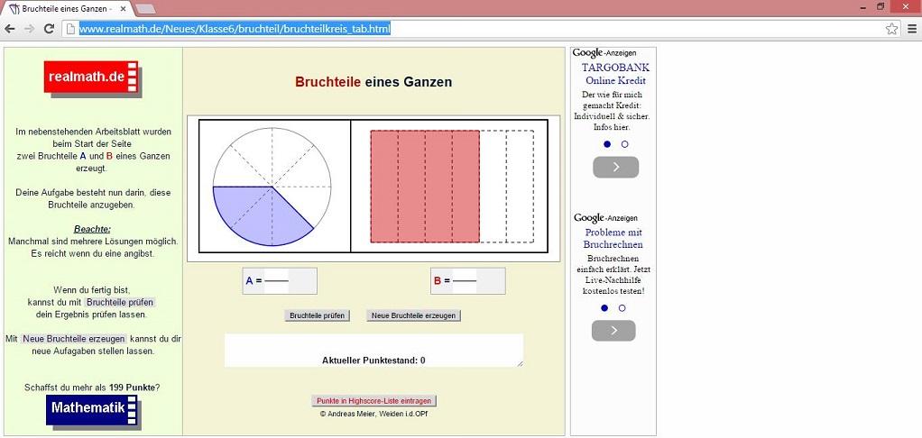 Sechstklässler können beispielsweise das Bruchrechnen mithilfe von realmath.de üben. Screenshot: www.realmath.de/Neues/Klasse6/bruchteil/bruchteilkreis_tab.html