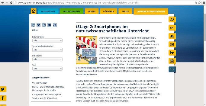 """Die Broschüre """"iStage 2"""" umfasst elf Unterrichtseinheiten, in denen Smartphones und Apps für Experimente im Unterricht genutzt werden. Screenshot: http://www.science-on-stage.de/page/display/de/7/7/678/istage-2-smartphones-im-naturwissenschaftlichen-unterricht1"""