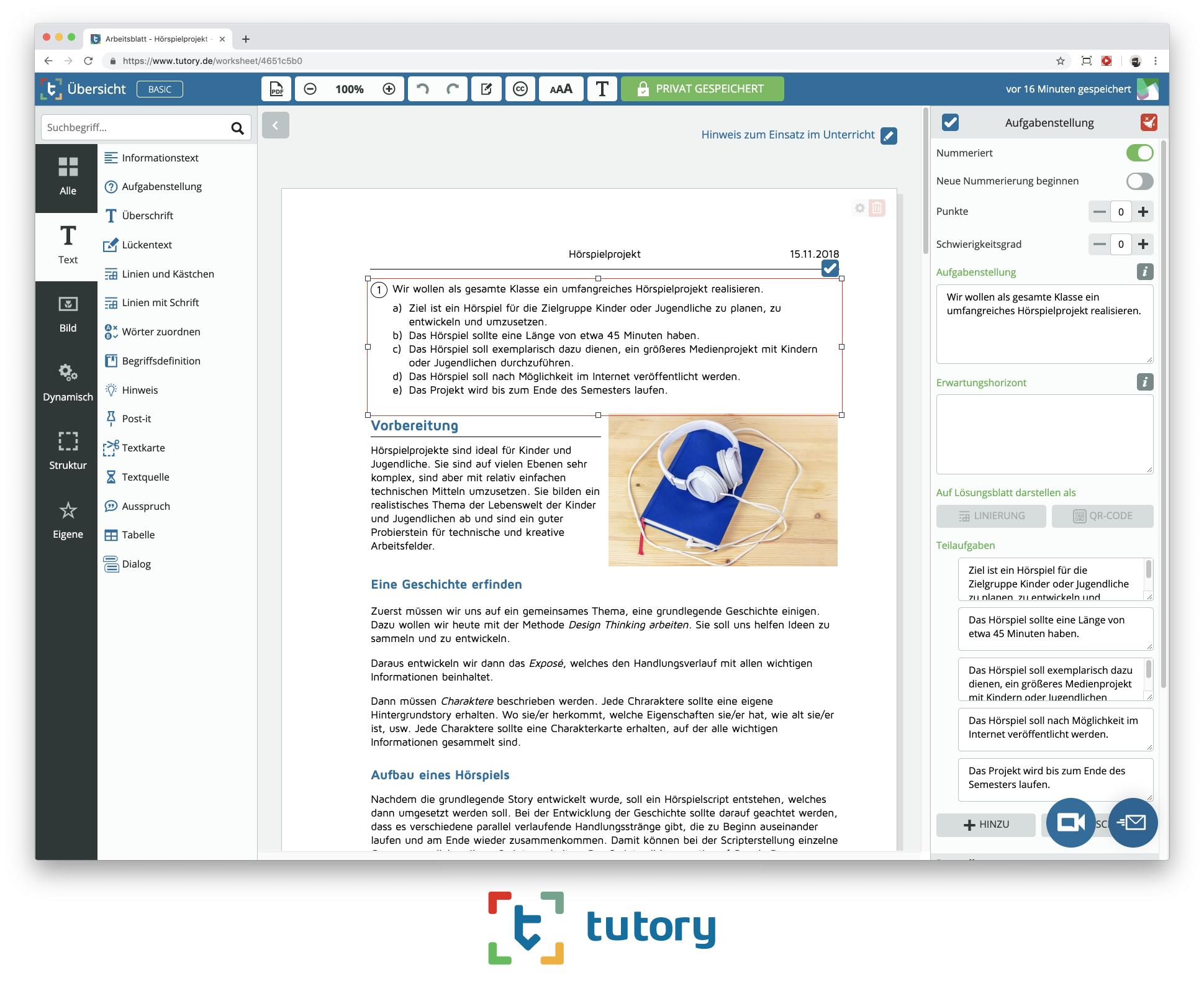 Tutoryde Der Online Editor Für Eigene Unterrichtsmaterialien